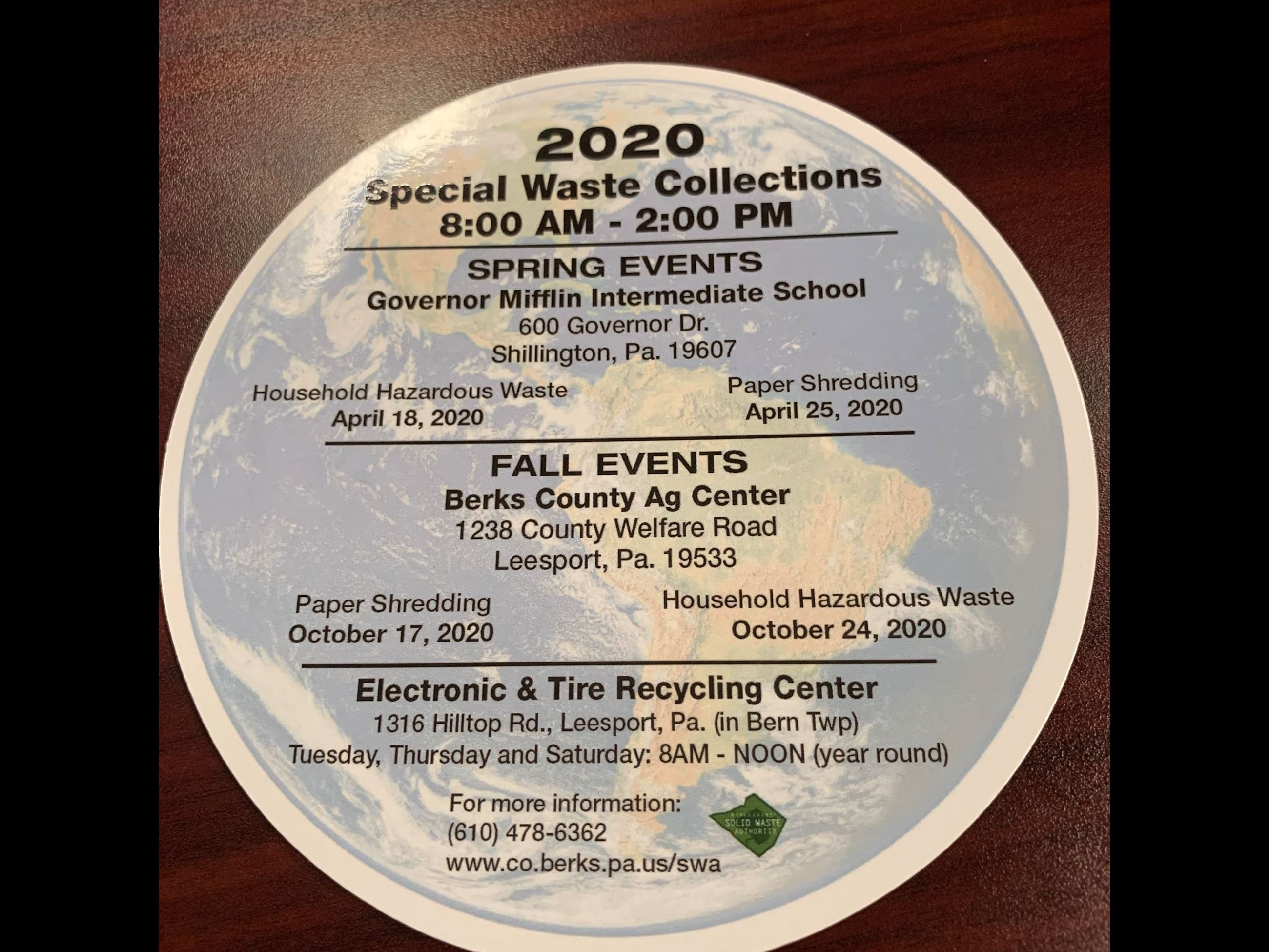 2020 Special Waste Collection Magnet